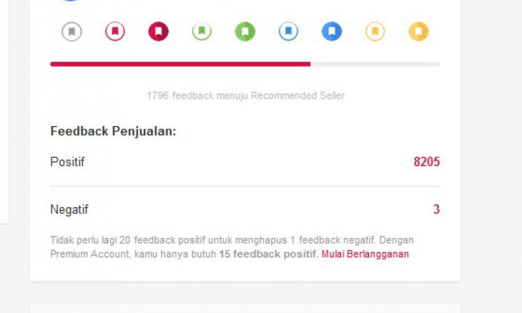 Akun Buka Lapak 8203 Feedback Emblem Good Seller