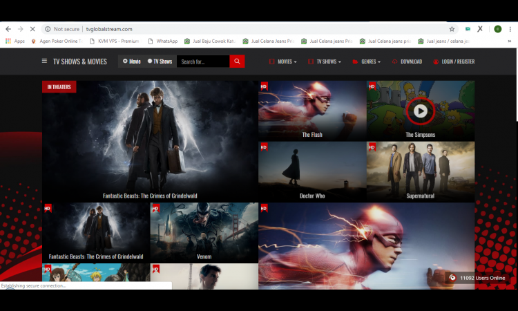 di jual landing page movie & TV